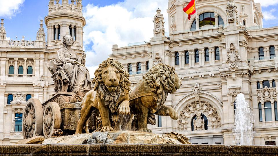 Cibeles Fountain in Madrid, Spain.