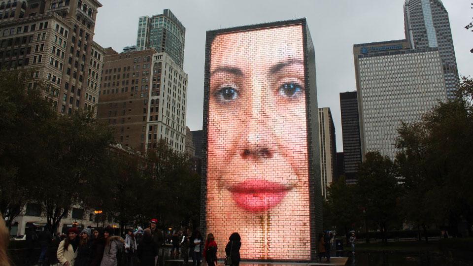 Millennium Park giant faces