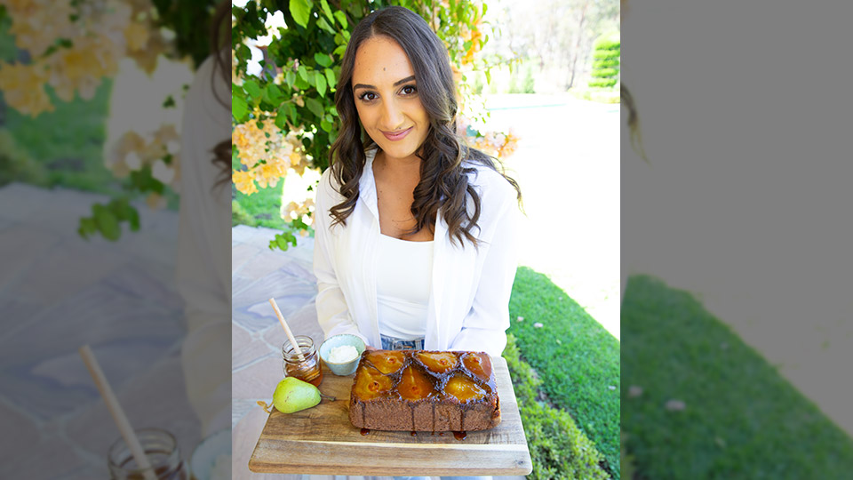 Larissa Takchi with caramalised pear bread