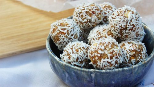 Vegan coconut, almond and lime bliss balls