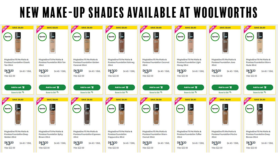 New foundation shades available at Woolworths