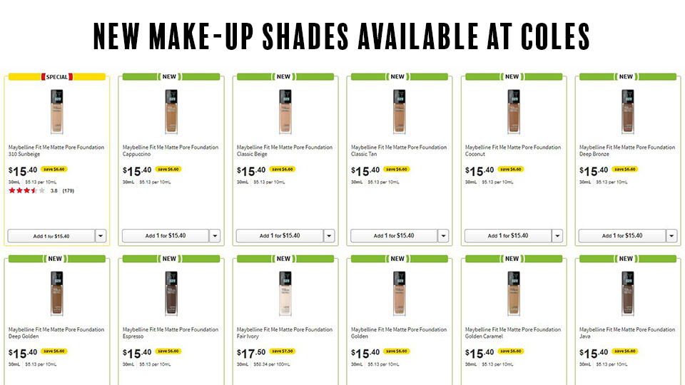 New foundation shades available at Coles